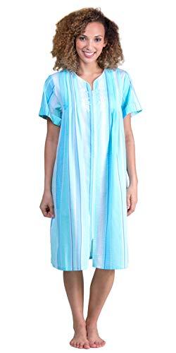 Miss Elaine Short Seersucker Zip Front Robe in Aqua Blue Stripe (Aqua/Blue Stripe, X-Large)