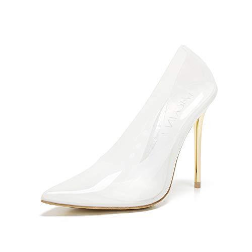 Mackin J 188-7 Transparent Pointed Toe Slip On Stiletto High Heel Pump(10, White)
