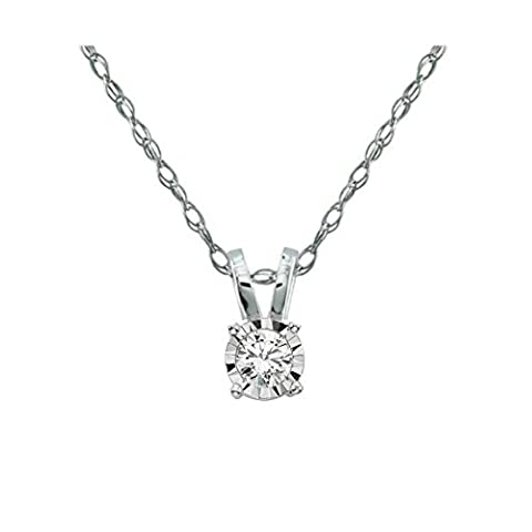 Solitaire Diamond Pendant with 14k White Gold Chain Necklace Miracle setting. (Color JKLM, Clarity I2/I3) (0.25 (Used 14k Gold Chain)