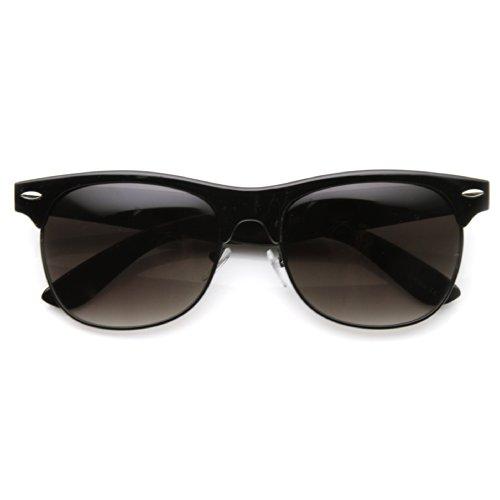 zeroUV - Traditional Style Retro Half Frame Horn Rimmed Sunglasses (Black - Sunglasses Half Black Frame