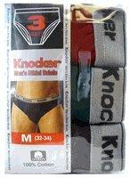 Knocker's Men's Bikini Briefs 3pk - Knocker's Multi-Colored Underwear- M (32-34)