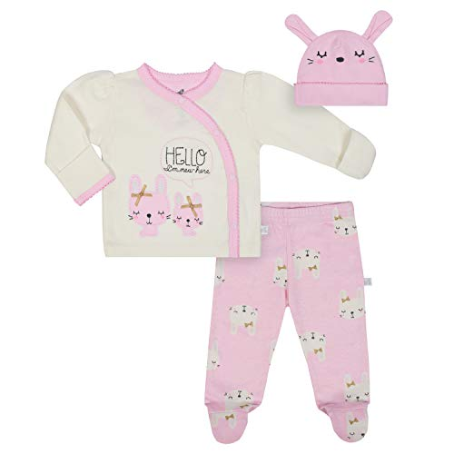 JUST BORN Baby Girls' 3-Piece Organic Take me Home Outfit, Bunny, Newborn