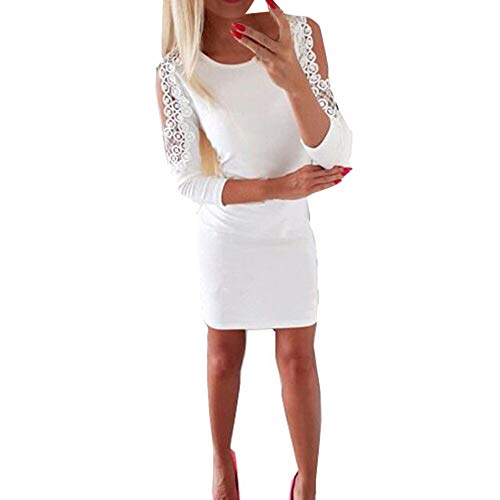 kaifongfu Women Three Quarter Party Dress Lace Solid Color Bodycon Dress(White,XXL)