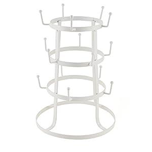 Leoneva Retro Rustic White Steel Cup Mug Tree Hanger Hook Drying Rack Organizer Stand (White)