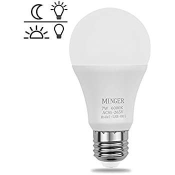 Dusk to dawn Lights Bulb, MINGER 7W Smart LED Bulbs with Auto on/off, Indoor / Outdoor Lighting Lamp for Porch, Hallway, Patio, Garage (E26/E27, 600lumen, Cold White)