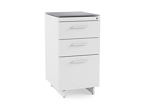 BDI Furniture 6414 SW/Gry Centro 3-Drawer Satin White/Grey Etched Glass Finish File Cabinet