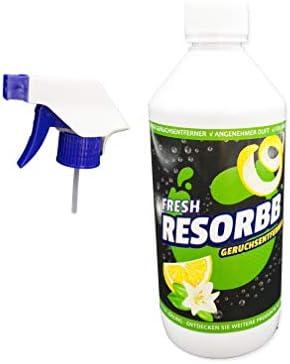 RESORBB® FRESH Anti-Rauch 0,5l. + Sprühkopf Dieser wasserlösliche Geruchsneutralisierer eignet sich für glatte Oberflächen und kann auch als Raumspray verwendet werden