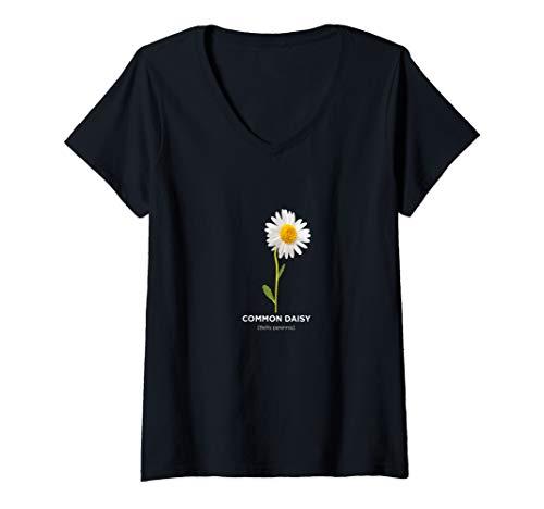 Womens Scientific Common Daisy Flower V-Neck - Daisy T-shirt Womens V-neck