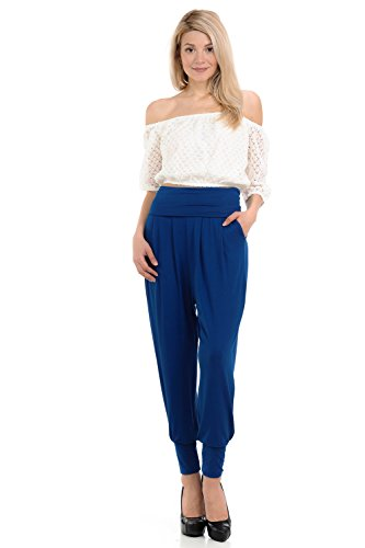 iconic luxe Women's Banded Waist Harem Jogger Pants with Pockets Medium Royal - Gaucho Jersey Pant Knit
