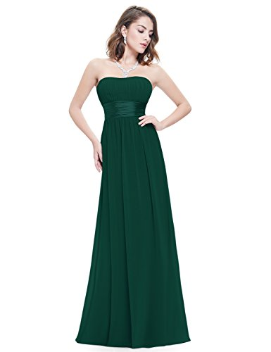 Ever Pretty Womens Floor Length Strapless Satin Empire Waist Prom Dress 16 US Dark Green