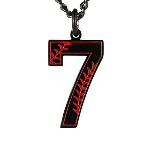 HZMAN Baseball Initial Pendant Necklace Inspiration Baseball Jersey Number 0-9 Charms Stainless Steel Necklace (7 - Black)]()