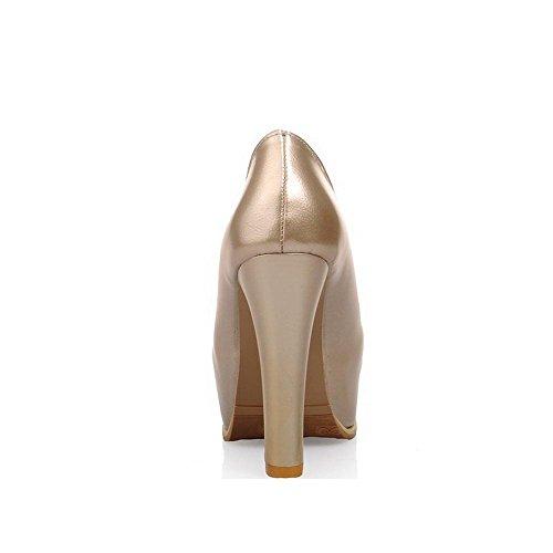 Pumps Material Golden Zehe Damen Schuhe Wasserdicht Plattform Absatz Rund Hoher VogueZone009 Weiches qazwYB1