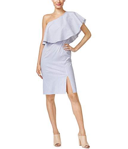 Bar III Womens One Shoulder Knee-Length Casual Dress Blue M from Bar III