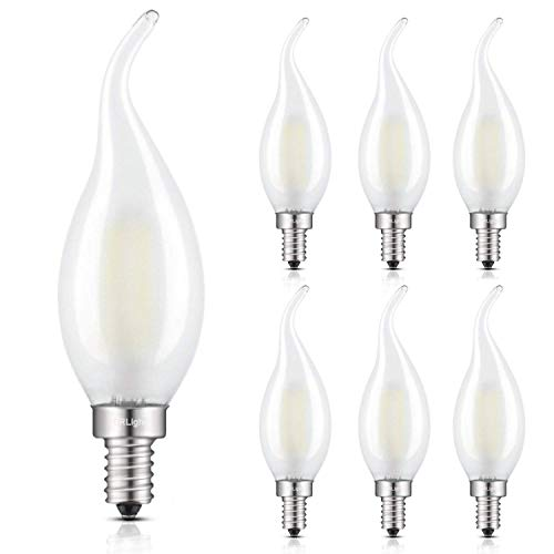 CRLight 2W LED Candelabra Bulb Daylight White 4000K 25W Equivalent 250LM, E12 Base Antique C35 Frosted Glass Candle Flame Shape Dimmable LED Chandelier Light Bulbs, Pack of 6