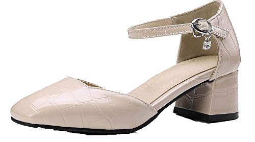 VogueZone009 Women Solid Pu Kitten-Heels Closed-Toe Buckle Sandals, CCALP015430 apricot