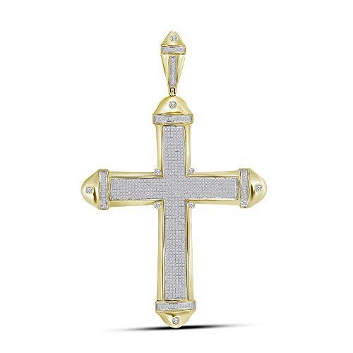 Jawa Jewelers 10kt Yellow Gold Mens Round Pave-Set Diamond Cross Crucifix Charm Pendant 1-1/2 Cttw