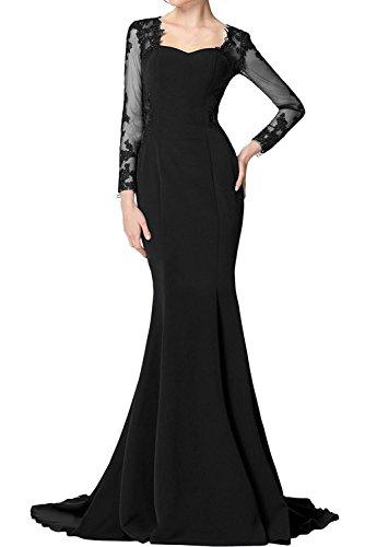 Schwarz Lang Braut Langarm mia Festlichkleider La Elegant Brautmutterkleider Meerjungfrau Fuchsia Partykleider Abendkleider q7Ppwf