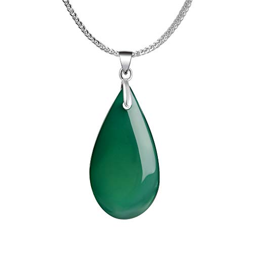 (iSTONE 925 Sterling Silver Natural Gemstone Green Agate Water Drop Pendant Necklace, Gemstone Birthstone with 18