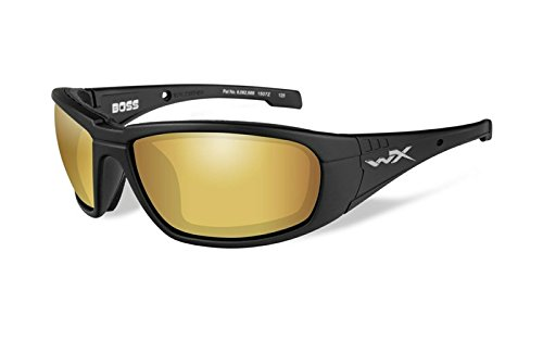 WILEY X 1930469 Wily Boss pol Amber Lens Mat Form Hunting Safety Glasses, - Sunglasses Mens Top 2014