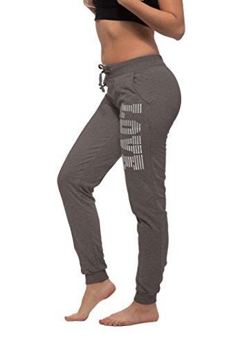 Coco-Limon Women Regular & Plus-Size Fleece Jogger Sweatpants , Leg Love Print,2X,Heather Charcoal/Foil