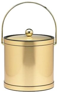 Kraftware Mylar Brushed Brass 3-Quart Ice Bucket with Brass Bale Handle, Bands and Metal Cover (Mylar Qt Ice 3 Bucket)