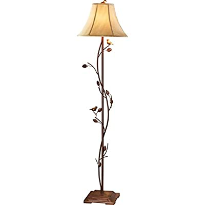 Antique Finished Metal Birds & Vines Floor Lamp