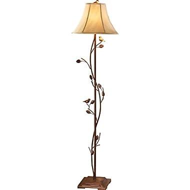 Antique Birds & Vines Floor Lamp, Brown