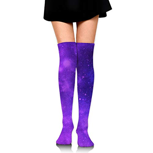 MFMAKER Women Girls Cheerleader Over The Knee Plus Size Long Cotton Stretchy Thigh Stockings Brilliant Purple Galaxy High Tube Socks ()