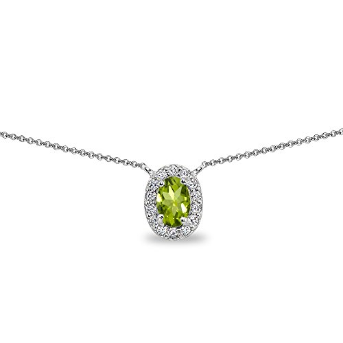 Sterling Silver Peridot Oval Halo Choker Necklace with CZ Accents