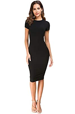 Acacia Flowers Women's Knitting Casual Short Sleeve Bodycon Tight Midi Dress Cocktail Party Pencil Dresses