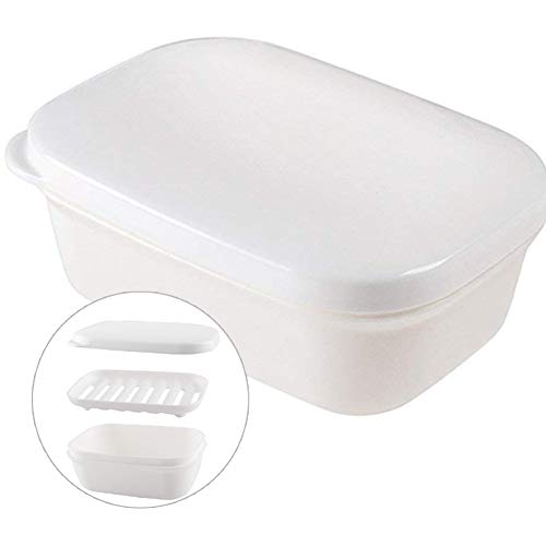 (Sharlity Rectangle Soap Box White Seal Waterproof Travel Portable Soap Dish Plastic Container Soap Protectors Wooden Soap Holder Soap Case for Bathroom Travel Home)