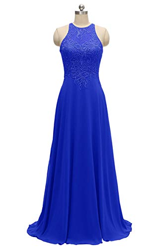 Halter Bridesmaid Dresses Long A-Line Lace Chiffon Beaded Evening Formal Gowns 2019 Royal Blue Size 16