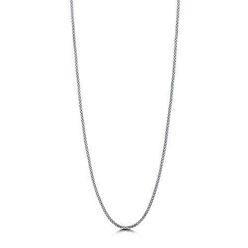 BERRICLE Italian Rhodium Plated Sterling Silver Popcorn Chain Necklace 1.5mm 20