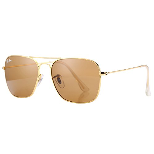 Pro Acme PA3136 Crystal Lens Square Caravan Sunglasses (Gold Frame/Crystal Brown - Sunglasses Aviator Logo
