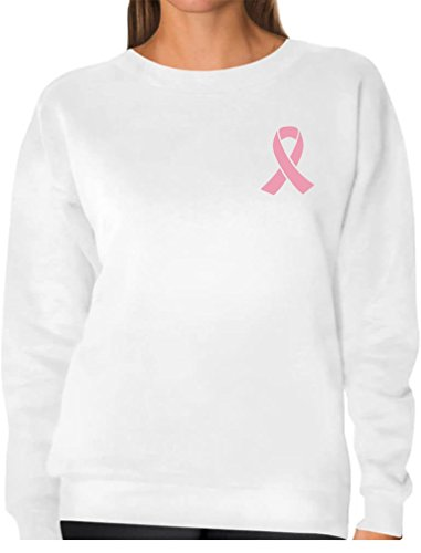 (TeeStars - Breast Cancer Awareness - Pocket Size Pink Ribbon Women Sweatshirt Large White)