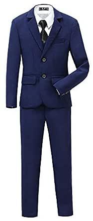 YuanLu Boys Tuxedo for Kids Toddler Boy Formal Suits Set No Tail - Blue - 5
