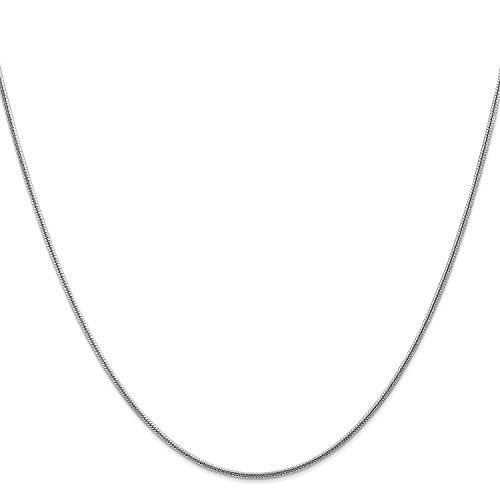 Roy Rose Jewelry 14K White Gold 1.6mm Round Snake Chain Bracelet ~ Length 8'' inches 8' Snake Chain Bracelet