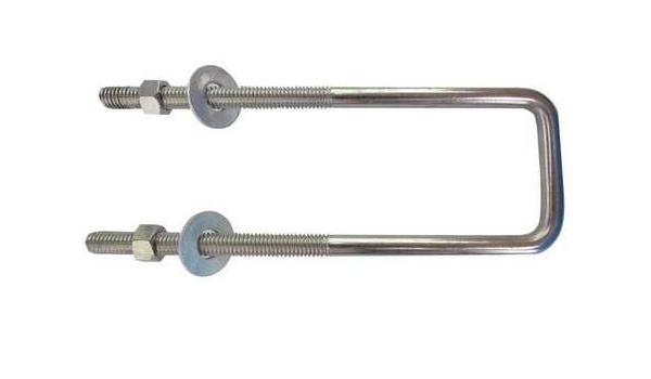 3//8-16 x 7 Pipe Size Zinc Low Carbon Steel Square Bend U-Bolt
