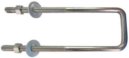 3//8-16 x 7 Pipe Size Plain 304 SS Square Bend U-Bolt