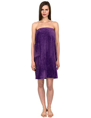TowelSelections Women's Wrap, Shower & Bath, Water Absorbent Cotton Lined Fleece Small/Medium Purple Heart