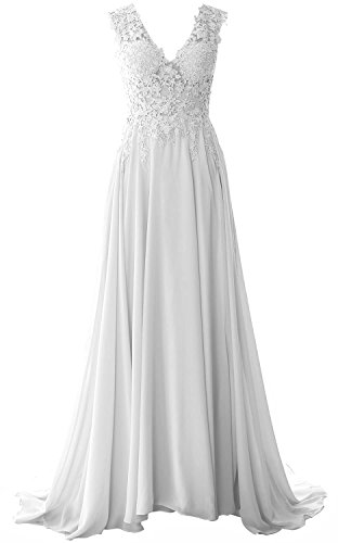 MACloth Women V Neck Long Prom Dress Vintage Lace Chiffon Formal Evening Gown Blanco