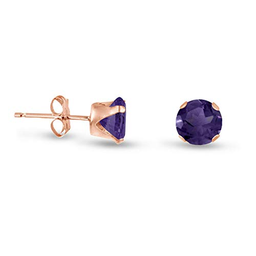 Campton Rose Gold Plated Silver Earrings- Round Purple Amethyst CZ~February Birthstone | Model ERRNGS - 13963 | 5mm - Top Seller ()