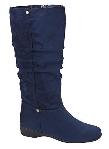 AmeriMark Women's Low Heel Slouch Boots – Knee High Winter Boots with Side Zip