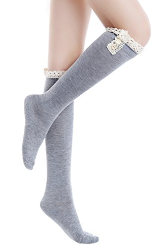 Heather 11 Boot Grey Women's Lace ICONOFLASH Trim Socks Size Knee High 9 OzvwqWa4A