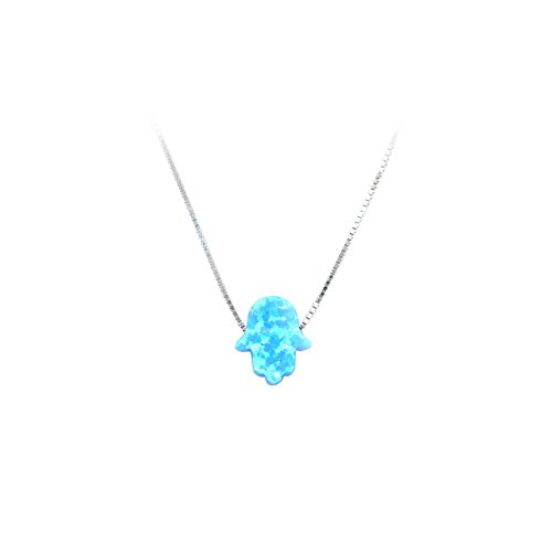 Blue Opal Hamsa Hand Pendant Necklace with 925 Silver Chain 18