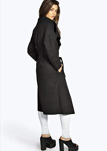 Abrigo Cinturón Primavera Largos Abierto Ropa con Elegante Transición Casuales Relaxed Ligeros De Color Mujer Schwarz Moda Sólido Largo Chaqueta Abrigos Outerwear Manga Otoño 05qxw15FP