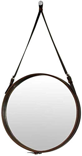 JIANGLI Round Vanity Mirror, Wall-Mounted Leather Lanyard Hotel Decorative Mirror Bathroom Black -