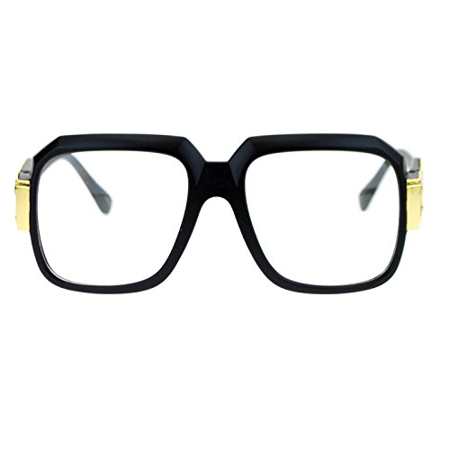 SA106¨ Retro 80s Hip Hop Rapper Nerdy Thick Plastic Rectangular Eye Glasses Matte - Hip 80s Fashion In The Hop