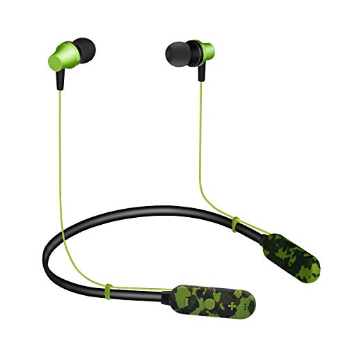 NSST Bluetooth Headset 4.2 Neck-Mounted Soft Rubber Bluetooth Wireless in-Ear Bluetooth Sports Waterproof, Plugable TF Card Compatible Strong,Green