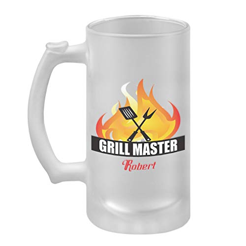 Personalized Custom Text Places Grill Master Frosted Glass Stein Beer Mug